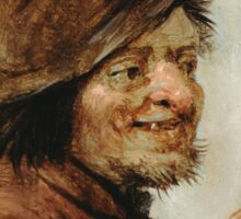 Teniers, David The Younger - A Peasant Holding A Glass. Man portrait: strong man, boy, male, beard, business suite, masculine, boyfriend, smile, manly, sexy men, mustache Sticker