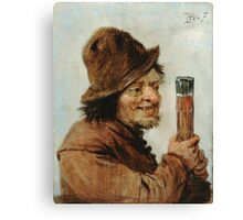 Teniers, David The Younger - A Peasant Holding A Glass. Man portrait: strong man, boy, male, beard, business suite, masculine, boyfriend, smile, manly, sexy men, mustache Canvas Print