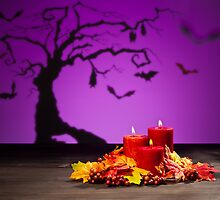 Candles in scary Halloween landscape with bats by 3523studio