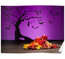 Candles in scary Halloween landscape with bats Poster