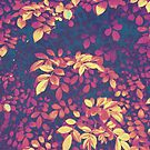 Foliage Hues - Dark Blue Gold and Purple by Shawna Rowe