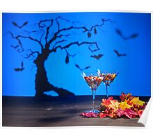 Halloween landscape a tree and a Martini glass with sweets Poster