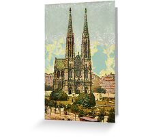A digital painting of the Votive Church, Vienna, Austro-Hungarian Empire 19th century Greeting Card