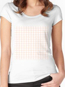PEACH HOUNDSTOOTH Women's Fitted Scoop T-Shirt