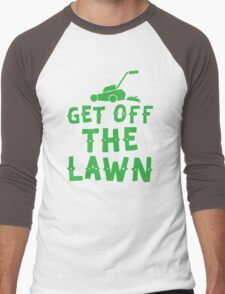 get off the lawn (with mower) Men's Baseball ¾ T-Shirt