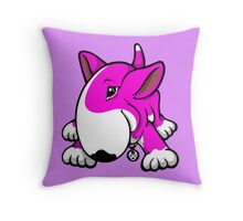 Let's Play English Bull Terrier Pink  Throw Pillow