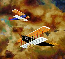 Biplanes in Aerial Games pillows & totes by Dennis Melling