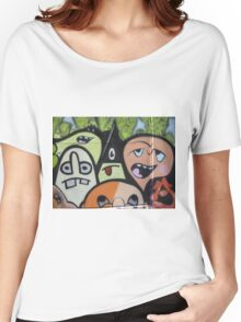 cartoon faces including triangle man Women's Relaxed Fit T-Shirt