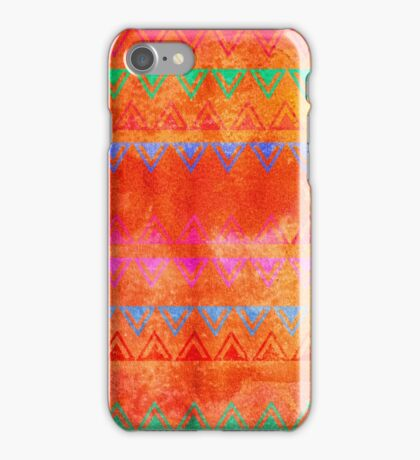 Abstract Bunting Watercolor Painting in Hot Pink, Orange, Mint & Blue iPhone Case/Skin