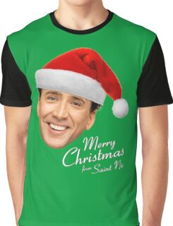 Merry Christmas from St Nic-olas Cage Graphic T-Shirt