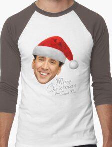 Merry Christmas from St Nic-olas Cage Men's Baseball ¾ T-Shirt