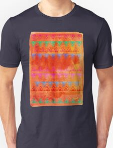 Abstract Bunting Watercolor Painting in Hot Pink, Orange, Mint & Blue Unisex T-Shirt