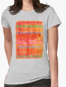 Abstract Bunting Watercolor Painting in Hot Pink, Orange, Mint & Blue Womens Fitted T-Shirt