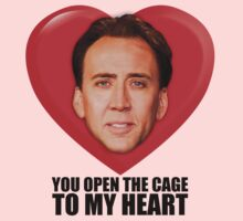 Nicolas Cage - You Open the Cage to My Heart Kids Tee