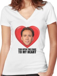 Nicolas Cage - You Open the Cage to My Heart Women's Fitted V-Neck T-Shirt