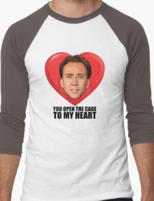 Nicolas Cage - You Open the Cage to My Heart Men's Baseball ¾ T-Shirt
