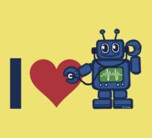I heart robot, robot listen to heart Kids Tee