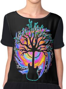 """Psychedelic Sonic Cyclone""   ( surreal guitar tree art) Chiffon Top"