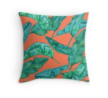 Watercolor palm leaves. Throw Pillow