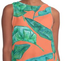 Watercolor palm leaves. Contrast Tank