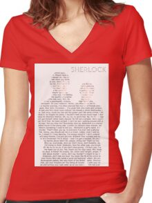 Sherlock Typography Women's Fitted V-Neck T-Shirt