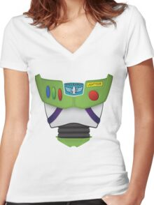 Buzz Lightyear Chest - Toy Story Women's Fitted V-Neck T-Shirt
