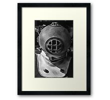 black and white photograph of an old divers helmet Framed Print