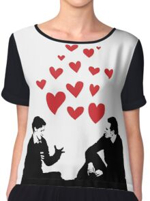 Cherik in the Field with Hearts Chiffon Top
