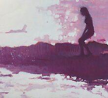 Purple Malibu Surfing by lynnGrayson