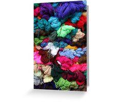 Bundles of Yarn at the Market Greeting Card
