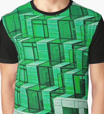 Abstract Architecture in Green Graphic T-Shirt