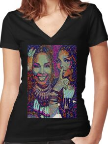 Janet puzzle Women's Fitted V-Neck T-Shirt