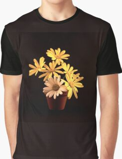 White and Yellow Daisies in a Red Pot Graphic T-Shirt