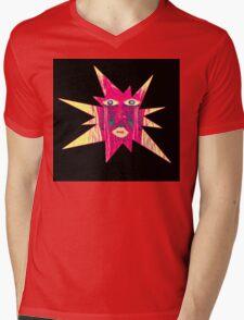 Star Face Mens V-Neck T-Shirt