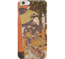Suzuki Harunobu - Woman Visiting The Shrine In The Night. Woman portrait:  geisha ,  women,  courtesan,  fashion,  costume,  kimono,  hairstyle,  headdress,  parasol,  mirror,  maid iPhone Case/Skin