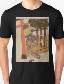 Suzuki Harunobu - Woman Visiting The Shrine In The Night. Woman portrait:  geisha ,  women,  courtesan,  fashion,  costume,  kimono,  hairstyle,  headdress,  parasol,  mirror,  maid Unisex T-Shirt