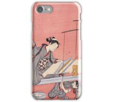 Suzuki Harunobu - Weaving. Woman portrait:  geisha ,  women,  courtesan,  fashion,  costume,  kimono,  hairstyle,  headdress,  parasol,  mirror,  maid iPhone Case/Skin