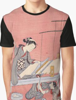 Suzuki Harunobu - Weaving. Woman portrait:  geisha ,  women,  courtesan,  fashion,  costume,  kimono,  hairstyle,  headdress,  parasol,  mirror,  maid Graphic T-Shirt
