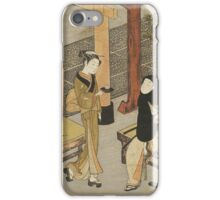 Suzuki Harunobu - Osen S Teahouse 1765-1770. Woman portrait:  geisha ,  women,  courtesan,  fashion,  costume,  kimono,  hairstyle,  headdress,  parasol,  mirror,  maid iPhone Case/Skin