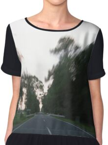 blurry fast speed travel down country road Chiffon Top