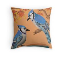 Blue Jays In Fall Throw Pillow