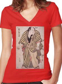 Sumo-E  Ukiyo - Prints Of Sumo Wrestler Kashiwado Sogoro 1762. Man portrait: man,  people,  sport,  sumo,  traditional,  wrestler,  wrestling,  fat,  overweight,  rice,  sport Women's Fitted V-Neck T-Shirt