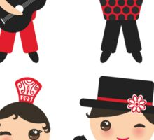 Happy flamencas on green Sticker