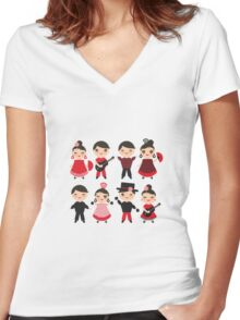 Happy flamencas on green Women's Fitted V-Neck T-Shirt