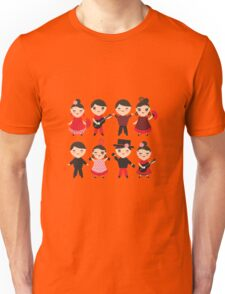 Happy flamencas on green Unisex T-Shirt