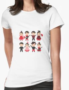 Happy flamencas on green Womens Fitted T-Shirt
