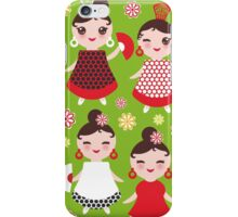 Happy flamencas on green iPhone Case/Skin