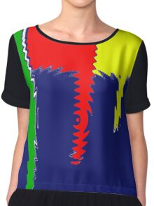 Primary Jagged Colors Blue - Yellow - Red - Green with Blur IX Chiffon Top
