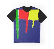Primary Jagged Colors Blue - Yellow - Red - Green with Blur IX Graphic T-Shirt