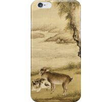 Shen Nanpin - Album Of Birds And Animals (Sheep And Goats). Forest view: forest , trees,  fauna, nature, birds, animals, flora, flowers, plants, field, weekend iPhone Case/Skin